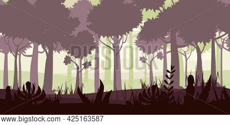 Jungle Tropical Forest Landscape Horizontal Seamless Background For Games Apps, Design. Nature Leave