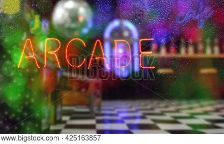 Neon Arcade Sign Composite Image With Blurry Arcade In Background
