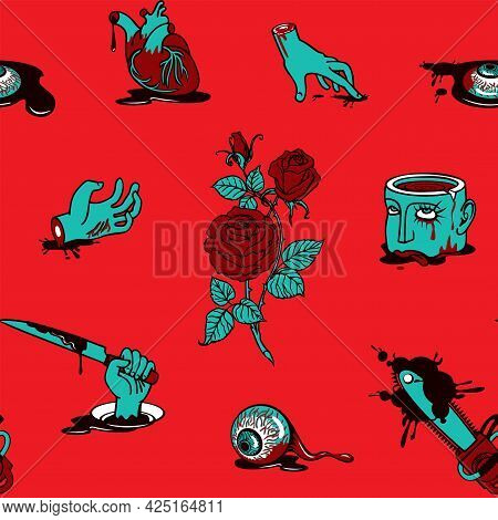 Seamless Pattern With Torn Out Human Heart And Eyes, Severed Head And Hands In A Bloody Puddles. Rep