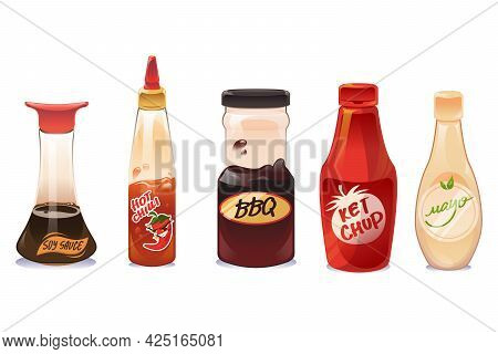 Sauces And Dressings In Glass And Plastic Bottles Isolated On White Background. Ketchup, Mayonnaise,
