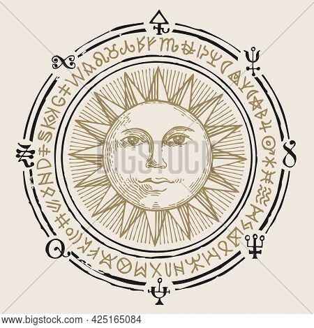 Vector Illustration With The Hand-drawn Sun And Esoteric Symbols On An Old Beige Background. Retro S