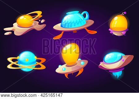 Ufo, Alien Space Ships Scrambled Eggs, Cup And Plate With Spoons Rockets. Fantasy Bizarre Shuttles,