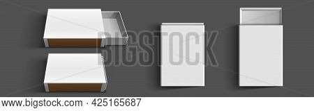 White Matchbox, Empty Package For Match Sticks In Top And Perspective View. Vector Realistic Mockup