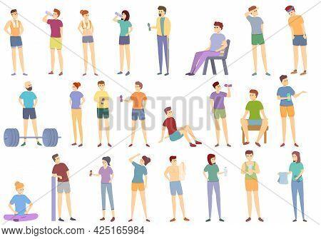 Resting Athlete Icons Set Cartoon Vector. Bored Athlete Break. Casual Resting Gym Towel
