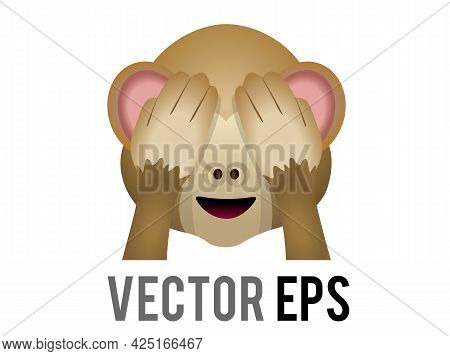Vector Brown See No Evil Monkey Face With Hands Covering Eyes Mizaru Icon