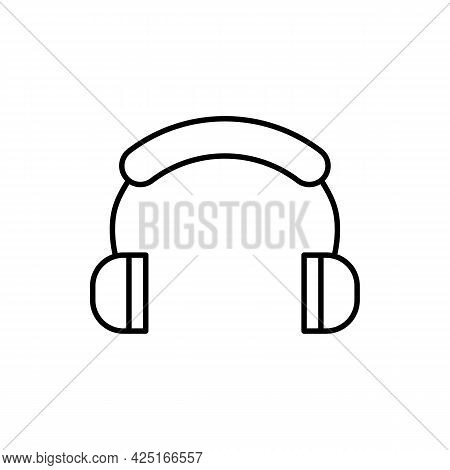 Simple Minimalistic Headphones, Earphones Thin Black Line Icon. Trendy Flat Style Isolated Symbol, F