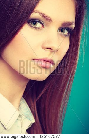 Female Charm And Emanating Beauty. Stunning Lovely Girl With Fabulous Alluring Night Party Make Up.