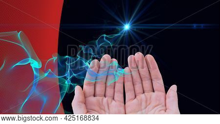 Animation of glowing light trails of information over hands. global business, digital interface, technology and networking concept digitally generated video.