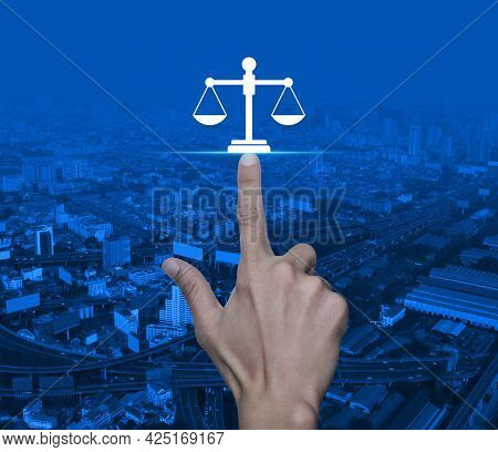 Hand Pressing Law Flat Icon Over Modern City Tower, Street, Expressway And Skyscraper, Business Lega