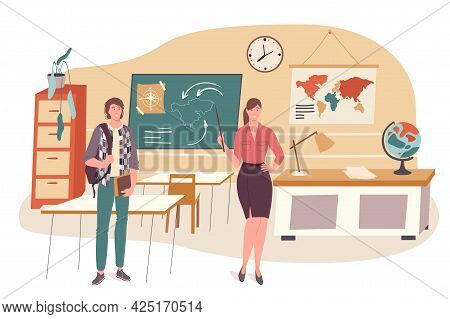 School Web Concept. Student Learns Geography At Classroom. Teacher Teaching Subject In Lesson At Cla