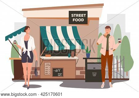 Street Food Shop Building Web Concept. Man And Woman Eating Breakfast, Drinking Coffee In Street Caf