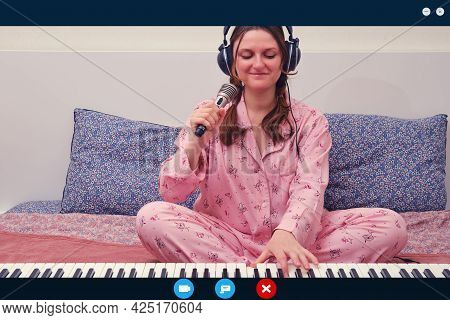Happy Woman Singer With A Microphone In His Hands Is Broadcasting An Online Video Call. App Interfac