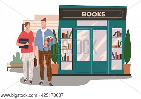 Bookstore Building Web Concept. Couple Buys Books At Bookshop. Students Holding Textbooks And Standi