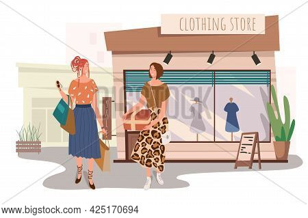 Clothing Store Building Web Concept. Two Women Buying Stylish Clothes In Boutique. Girlfriends Meeti