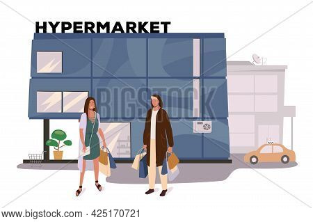 Hypermarket Store Building Web Concept. Customers Shopping, Making Purchases. Buyers Standing With B