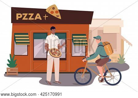 Pizzeria Restaurant Building Web Concept. Chef Made Pizza, Standing At Entrance. Courier Delivers Fo