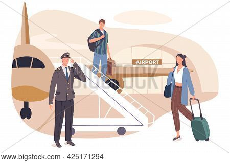 Summer Travel Web Concept. Passengers With Suitcases Go Down Ladder Plane. Man And Woman Arrival To