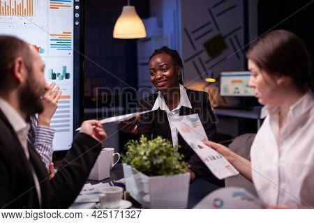 Workaholics Focused Multi-ethnic Businesspeople Overworking In Company Office Meeting Room Brainstor