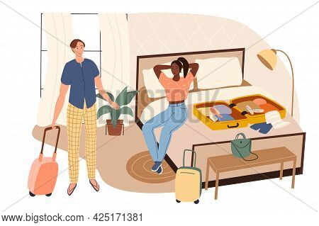 Summer Travel Web Concept. Couple Packing Clothes In Suitcases At Home And Going On Vacation. Man An