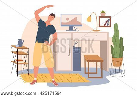 Workplace Web Concept. Man Exercising At Home Office. Freelancer Or Remote Worker Training Sports In