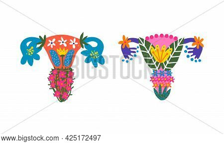 Uterus Or Womb Arranged From Flowers And Plants As Healthy Female Reproductive System Organ Vector S