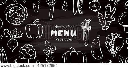 Vegetable Sketch On Chalkboard. Chalk On Blackboard. Beet, Pepper, Eggplant, Pumpkin And Cabbage. Ra
