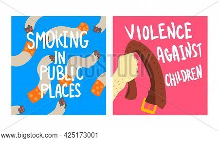 Social Problem Poster With Smoking In Public Place And Violence Against Children Vector Set