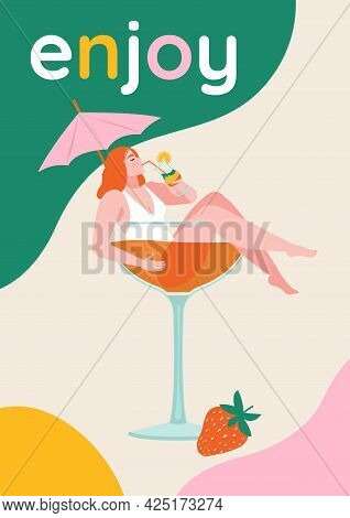 Beautiful Girl In The Glass Of Cocktail.