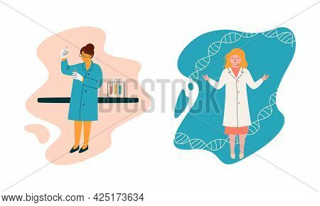 Woman Scientist In Laboratory Coat Conducting Research And Investigation With Dna And Flask With Che