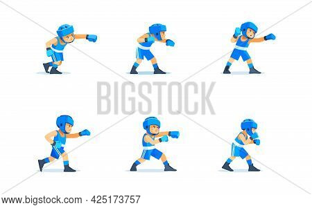 Cute Boy Boxer Character Design In Different Poses. Cartoon Vector Illustration Isolated On White Ba