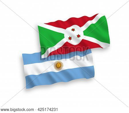 National Fabric Wave Flags Of Burundi And Argentina Isolated On White Background. 1 To 2 Proportion.
