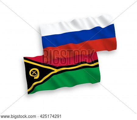 National Fabric Wave Flags Of Republic Of Vanuatu And Russia Isolated On White Background. 1 To 2 Pr