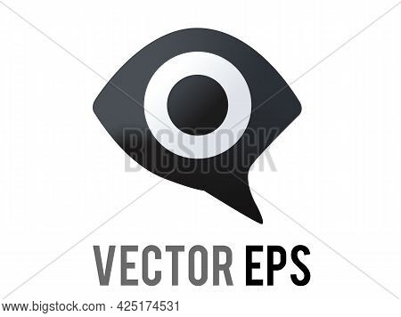 The Isolated Vector Gradient Dark Grey Speech Bubble Icon Showing An Eye Inside,  Representing Anti