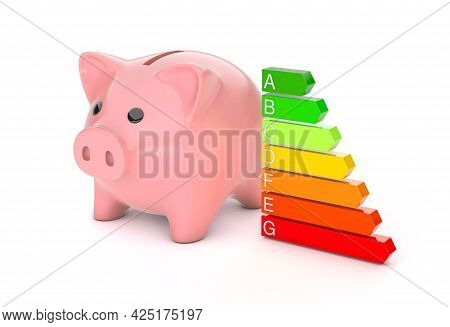 Piggy Bank And Energy Efficiency Rating. Colored Arrows Graph. Isolated On White Background. 3d Rend