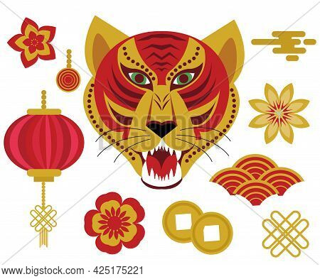 Year Of The Tiger 2022 Chinese Horoscope Icons Set. Chinese New Year Collection Of Design Elements W