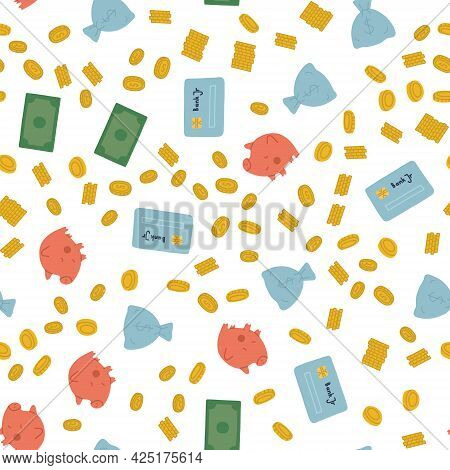 Vector Isolated Pattern With Financial Symbols. Money, Piggy Bank, Charts Are Symbols Of Financial S