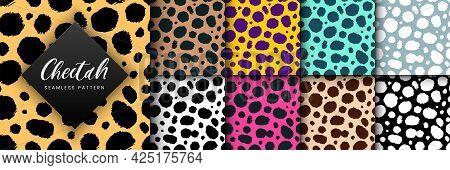 Vector Trendy Cheetah Skin Seamless Pattern Set. Hand Drawn Wild Animal Leopard Spots Texture For Fa
