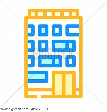 Apartment House Color Icon Vector. Apartment House Sign. Isolated Symbol Illustration