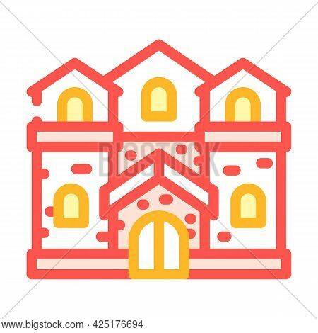 Medieval House Color Icon Vector. Medieval House Sign. Isolated Symbol Illustration
