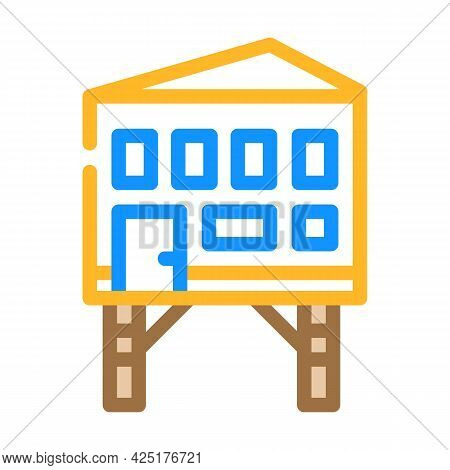 Stilt House Color Icon Vector. Stilt House Sign. Isolated Symbol Illustration