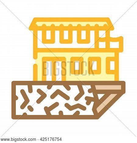 On Edge Of Precipice House Color Icon Vector. On Edge Of Precipice House Sign. Isolated Symbol Illus