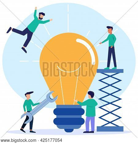 Flat Style Vector Illustration Looking For Ideas Working Together Brainstorming. Creative And Innova