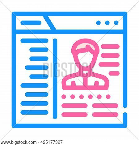 Cms With Data Kyc Color Icon Vector. Cms With Data Kyc Sign. Isolated Symbol Illustration