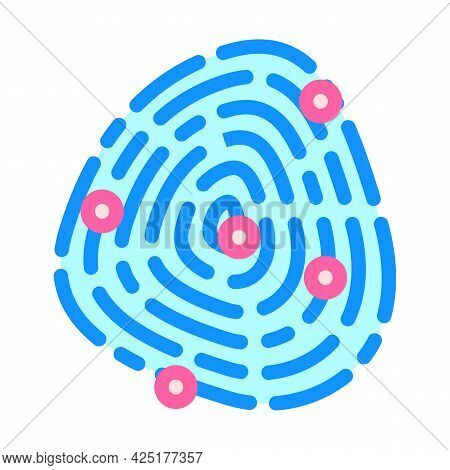 Fingerprinting Client Kyc Color Icon Vector. Fingerprinting Client Kyc Sign. Isolated Symbol Illustr