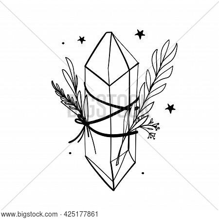 Crystal Icon With Branches And Stars, Line Hand Drawing, Bohemian Tattoo For Witch, Gem, Sketch Boho