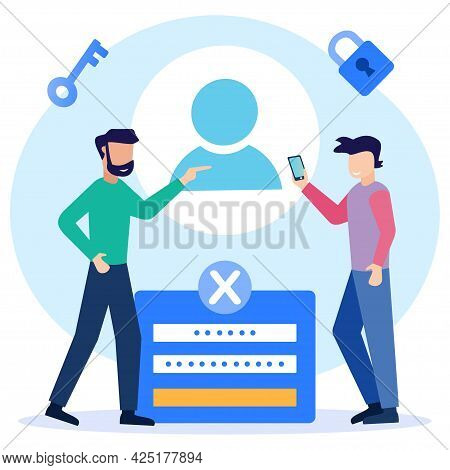 Modern Style Vector Illustration Of People Registering Online And Registering On Digital Device. Use