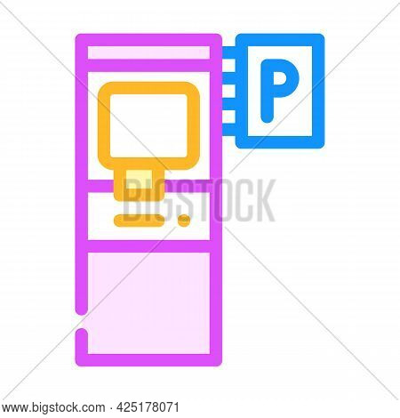 Electronic Machine For Buy Ticket Of Parking Color Icon Vector. Electronic Machine For Buy Ticket Of