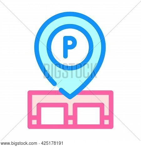 Gps Mark Of Parking Location Color Icon Vector. Gps Mark Of Parking Location Sign. Isolated Symbol I