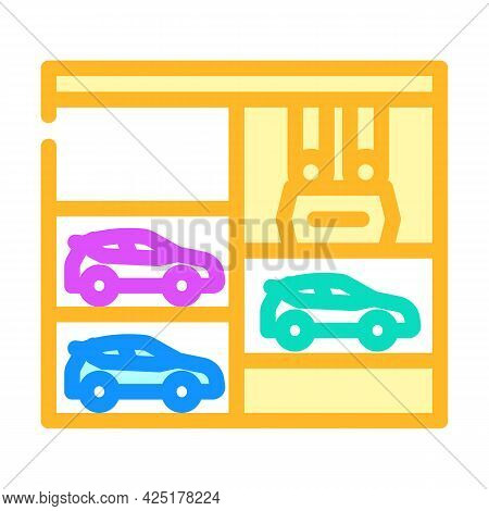 Lift In Multi Level Parking Color Icon Vector. Lift In Multi Level Parking Sign. Isolated Symbol Ill