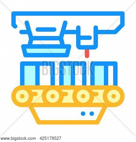 Factory Conveyor Production Color Icon Vector. Factory Conveyor Production Sign. Isolated Symbol Ill
